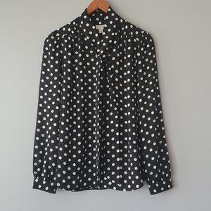 J. Crew Black & White Polka Dot Long Sleeve Blouse